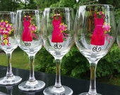 8 Wedding Wine Glasses Hand Painted Wedding Favors Bridesmaid Gifts for Bridal Party (15.00) EACH for  Dana Moon (Xqiuizit)