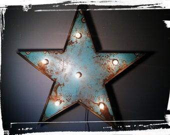 light up STAR marquee sign - shabby chic cottage decor - vinatge wedding decor