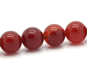 38 Agate Beads - 10mm - Red - 1 Strand - Ships IMMEDIATELY From California - B1192