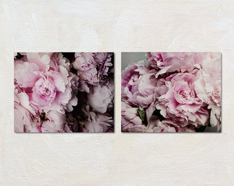 Peony Print Set, Floral Wall Art Set, Grey and Pink Artwork, Botanical Picture Set, Two Photograph Set, Foyer Photo, Shabby Chic Flower Art
