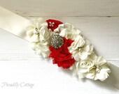 Red Bridal Sash, Bridesmaid Sash, Flower Girl Sash, Maternity Sash, Sash, Custom Sash, Satin Sash, Flower Sash