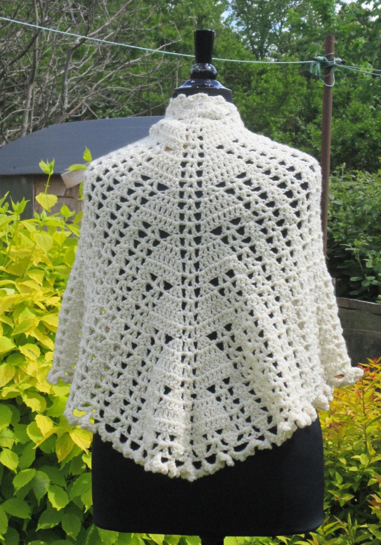 Crochet Pattern Half Circle Shawl : Cream half circle shaped ladies crochet shawl
