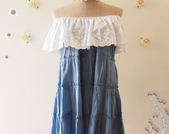 One Fine Day - Beach Tunic Summer Blouse Cotton Denim Drop Shoulder Blouse Blue Shirt Hipster Clothing Matunity Blouse Tunic - Size S-M