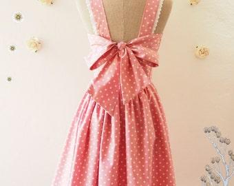 Fairy Wings - Pink Bridesmaid Dress Summer Dress Polka Dot Dress Vintage Inspired Backless Bow Dress Pink Tea Dress- XS-XL,Custom