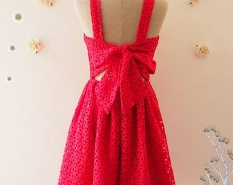 Red Eyelet Lace Dress Red Sundress Back Bow Backless Party Dress Wedding Photoshoot Dress Graduation Reception Vintage style Summer Dress