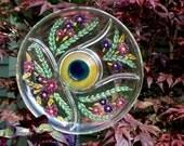 Handmade Glass Flowers, Yard Sun Catcher, Garden Yard Art and outdoor Garden sun catcher with recycled glass