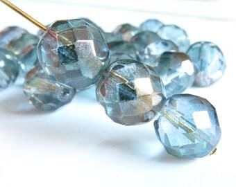 Czech Glass Firepolish Beads - Blue/Green Crystal  - 12mm