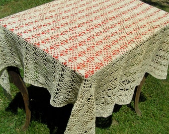 Vintage Hand Crocheted Baby Blanket COTTON Oatmeal Off White