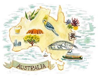 Australia Map Art Print