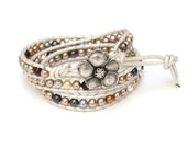 White Leather Cord with Multi Color Swarovski Pearls Wrap Bracelet