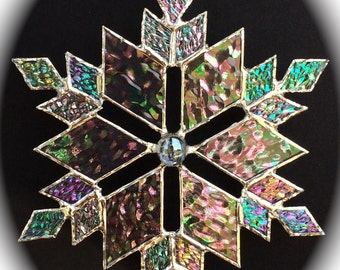 stained glass snowflake suncatcher (design 10)