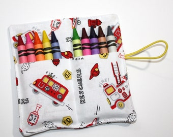 Crayon Rolls Party Favors! Firetruck Fire Engine Dalmatian, holds 10 Crayons, Firetrucks Birthday Party Favors