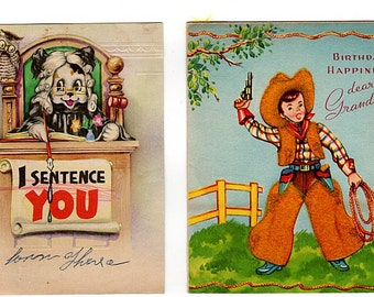Cowboy Birthday Card, Kids Birthday Cards, Lot of 2, 1950s USED Birthday Cards, Western Themed Birthday, Artistic Card, Judge, Juvenile Card