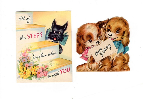 Scotty Dog Birthday Card Puppy Birthday Card Vintage Kids – Birthday Card for Dog