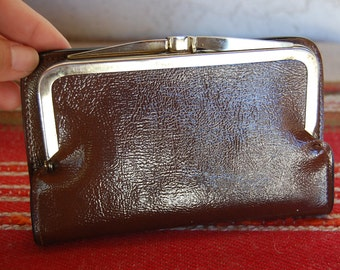 Vintage 1970's wallet vinyl VEGAN coin purse french style