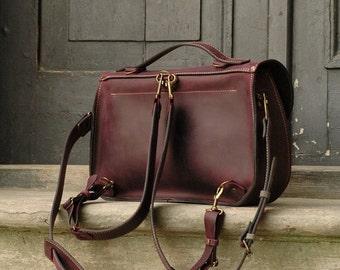 leather messenger backpack office bag Ladybuq plum  ( violet )