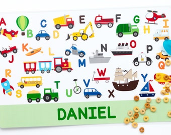 Personalized Transportation Alphabet Placemat for Boy - Personalized Kids Placemat - Childrens Placemat - Educational Placemat