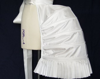 White Structured Hooped Bustle in Satin Fabric - Undergarment - Underpinning - Lingerie