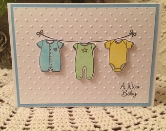 Handmade Baby Clothesline Card