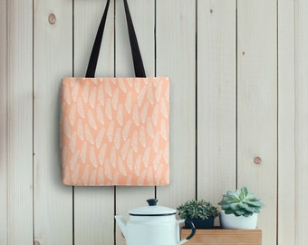 Fern Tote Bag in Peach, Nature Inspired Modern Print | Made to Order | Ships in 3-5 days from USA