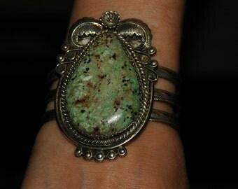 Huge Stunning Vintage Navajo C G Fowler Green Turquoise Silver Bracelet 72 Grams