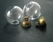 6pcs 16mm round glass dome one end open with bronze bail vintage style pendant charm DIY supplies 1810412