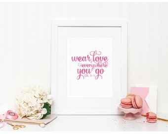 "Scripture Watercolor - ""Wear Love Everywhere"" - Mirabelle Creations"