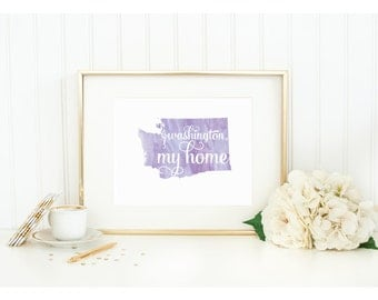 "Washington State Watercolor Art Print - ""Washington My Home"" - Mirabelle Creations"