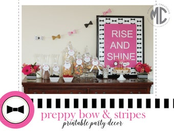 Preppy Bow & Stripes Digital Printable Party Collection - Mirabelle Creations