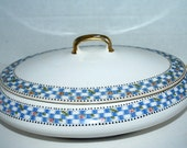 covered  vegetable serving bowl  Taylor smith and taylor  vintage covered dish  blue and white china Iona pattern