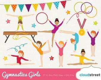 20% OFF Gymanstics Girls clipart / gymnastic girl clip art / cute gymnast clipart / olympic gym clip art / commercial use ok
