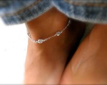 Station  CZ anklet sterling silver - station cz silver  - cz charm - cz sterling silver framed charm - multi cz charms - cz ankle bracelet -