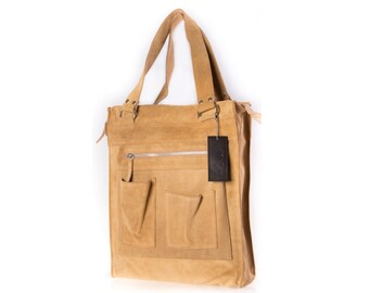 Tote bag sand suede  - tote bag - sand suede tote - sand shoulder bag - beige suede - genuine leather -