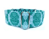 "Boheme Skulls Dog Collar - 1"" or 1.5"" Jade Green Skulls and Geometric Diamond Martingale Collar or Buckle Dog Collar"