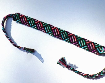Purple  and Green Woven Friendship Bracelet