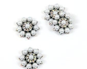 25mm Pearl Raindrop Button, Metal Rhinestone Pearl Embellishments - Set of 5 Buttons