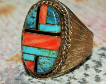 VINTAGE ZUNI RING Inlay Sterling Size 11 c1975