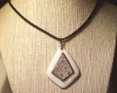 """Mother of pearl pendant necklace, silver mesh, pendant on black suede cord, 4 inch extension chain 17""""  Free shipping USA orders only"""