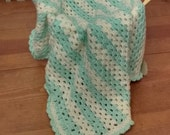 Spring chicken mint and yellow striped crochet baby blanket