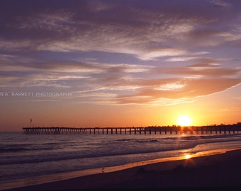 Fine Art Photograph, 4x6 Print Ventura Pier in Ventura, California Sunset Hour Gorgeous Photograph at dusk