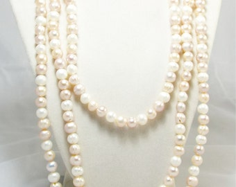 "Endless Strand of Natural Ivory Pearls, Peachy Ivory 68"" Inch Strand of Gorgeous Pearls, Fresh Water Buttery Cream Baroque Pearls"