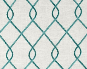 Aqua and Ivory Embroidered Geometric Pillow Covers in Duralee Rico Aqua Fabric