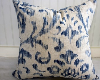 IN STOCK / Blue and Oatmeal Ikat Pillow Cover / 18 x 18 / in  Designer Fabric