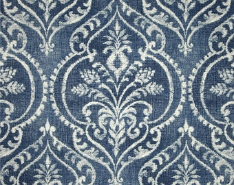 Denim Blue and White Damask Pillow Covers in Swavelle Mill Fabric
