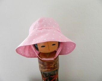 Cotton Summer Hat - Pink with White Polka Dots - Baby to Preschool