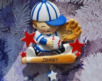 Personalized Baby Boy Little Slugger Baseball Christmas Ornament