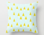 Pine Trees Pillow, Light Blue Pillow, Nursery Pillow, Baby Pillow, Pastel Colours Decor, Mustard Yellow Pine Trees, Pine Trees Pattern