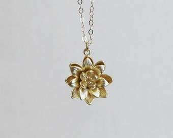 Gold Lotus Flower Necklace, Simple Everyday Necklace, Gold Filled Chain, Water Lily Flower Pendant, Birthday Gift, Lucky Charm Necklace