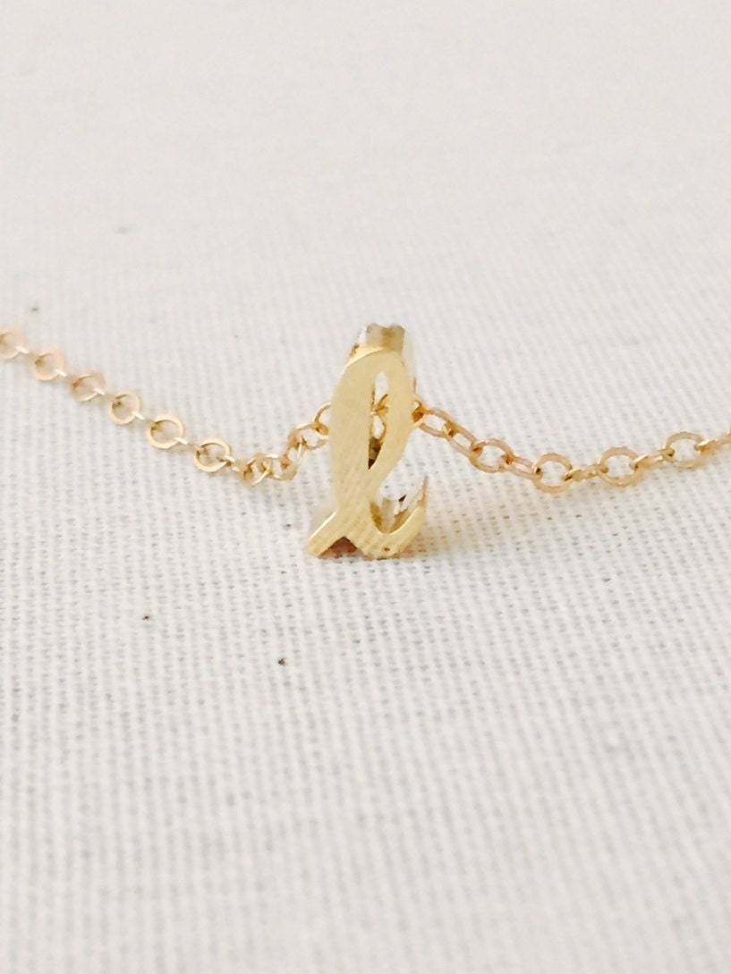 tiny gold cursive initial l necklace script letter l necklace initial necklace lowercase script necklace name necklace 14k goldfilled