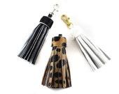 Medium Calf Hair Tassel | Cheetah | Leopard | Animal Print | Handbag Accessory | Hair On | Spotted | Keychain | Keyfob | Handmade